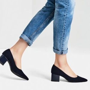 Zara Suede Navy Blue Block Heel Pumps